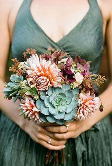 Nice color palette- succulents and dahlias