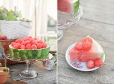 Pretty way to serve watermelon. Reuse the Rind