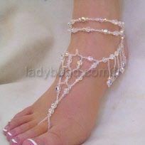 Crystal Beach Wedding Accessory Barefoot Jewlery In love with these! #barefootsandals #beachwedding http://theguayaberashirtstore.com