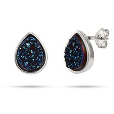 Sterling Silver Blue Drusy Quartz Pearcut Earrings $32
