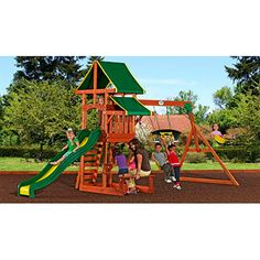 "Backyard Discovery Tucson Cedar Wooden Swing Set - Dimensions: 18' 1""L x 7' 4""W x 9' 5""H"