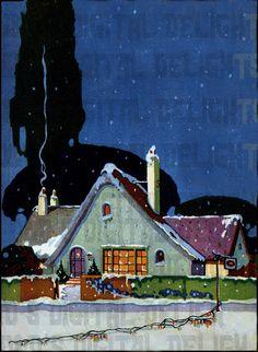 Starry Blue Night  Storybook Cottage VINTAGE  Art Deco