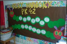 the very hungry caterpillar display. i gave each of them a paper that said: I am so hungry that I could eat: _________. They drew and wrote. (4 year olds)