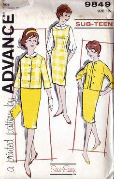 1960s Girls Sheath Dress Blouse and Jacket