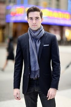 Blue blazer, scarf and jeans combo