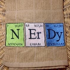 Periodic Table nerd towel kitchen bathroom by OffTheHookbyLora, $12.00