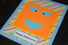 Happy Halloween striped pumpkin face handmade card by AnLieDesigns, $2.00