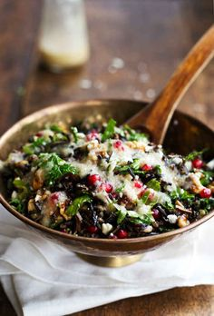 Pomegranate, Kale and Wild Rice Salad with Walnuts and Feta