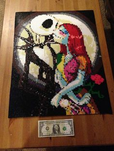 Jack and Sally made out of Perler Beads by Karu4Link