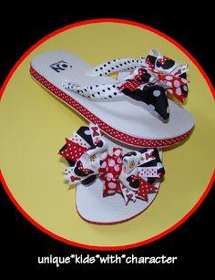 Minnie Mouse Ribbon Flip Flops