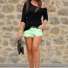 Black Top Mint Shorts and Black Studded Clutch - love off the shoulder tops and bright colors! perfect!
