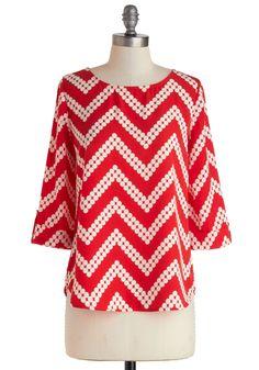 chevron patterns, polka dots, amarylli adventur, modcloth 3799, red modcloth, blous, white pants, adventur top, chevron stripes
