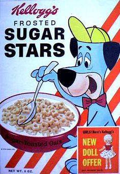 1962 Sugar Stars Box - Huckleberry Hound vintag cereal, stars, cereal box, sugar star, cereal killer, cereals