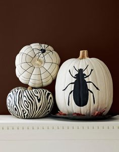 Black & White Painted Pumpkins.