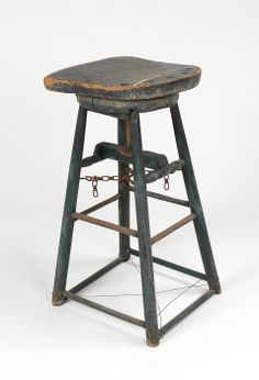 Four legged stool used by Charles Prendergast to work at his work table at Williams College Museum of Art, Prendergast Archive and Study Center