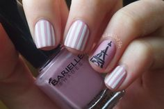 Pink striped French Eiffel Tower nails! Barielle, white stripe, Paris, girly nails, cute nails, nail art, nail designs, Kelsie's Nail Files, nail bloggers, nail blogs, nail tutorials, Nail It! Magazine