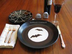 Halloween Plate  Black Bats White Full Moon by ShellHawksCreations, $65.00