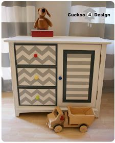 grey Chevron changing table