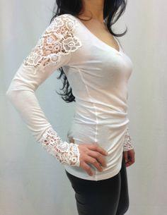 White Cotton Lace Women Blouse Long sleeve Lace Shirt,  Sexy Body shirt,  Long sleeves Blouse on Etsy, $69.00