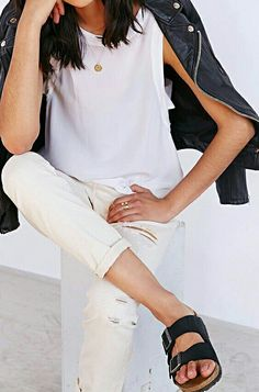 White + Leather + Birkenstocks