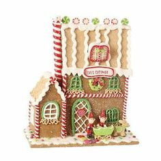 Claydough Gingerbread Elf Cottage Christmas house decoration cm 3316097 NEW RAZ