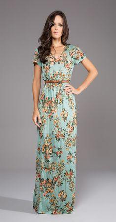Vestido Longo Tricot Floral