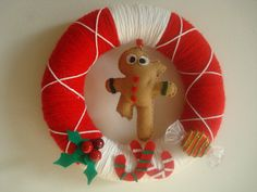 Handmade Holiday Yarn Wreath with a Gingerbread and by astrausa