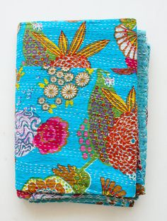 Twin Bed Cover or Blanket Bright Blue by gypsya on Etsy