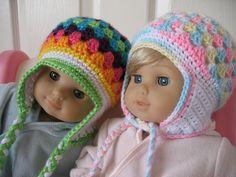 """Cute American Girl 18"""" Doll crochet ear flap hat pattern."""