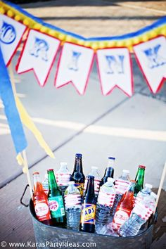 Circus Train Big Top Carnival Birthday Party - cute idea for beverages