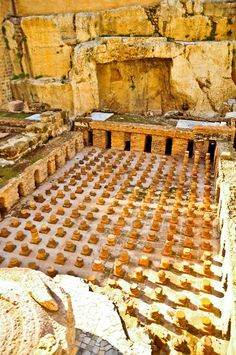 what used to be the floor of an ancient Roman bath house  Beirut, Lebanon