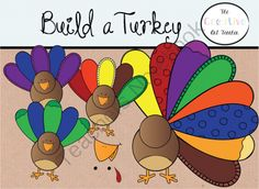 Buld a Turkey - Digital Clipart from TheCreativeArtTeacher on TeachersNotebook.com -  (1 page)  - What better way to jazz up your Turkey Day lessons or classroom decor than with these vibrantly colored Turkeys? Students can easily build their own! You will receive 46 .png files, formatted at 300 d
