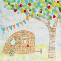 Happy CAMPER Art Print Mixed Media Art Collage Encaustic Vintage Map Shabby Chic.