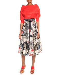 Organza Elbow-Sleeve Top, Street Art Printed Pleated Skirt & Hand-Painted Leather Belt by Donna Karan at Neiman Marcus.