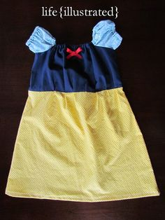 Multiple Disney princess dresses--all doable from one simple peasant dress pattern (linked).