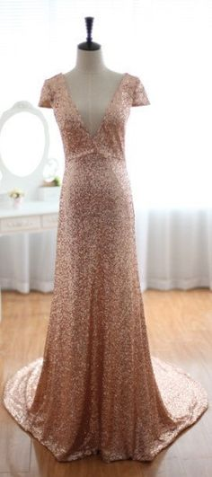 Champagne Gold Sequin Wedding Dress with Cap Sleeves