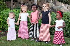 Little Girls Sweet & Feminine Chevron Maxi Skirts.  Okay,  who is going to make some of these for my girls?