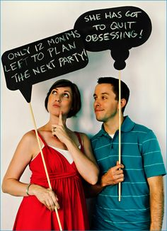 Chalkboard thought bubbles - great idea for a party photo booth.