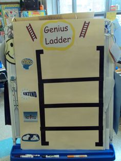 Whole Brain Teaching--Genius Ladder for First Graders with picture cues.  Blah Sentence, Spicy Sentence, Extend, and Genius!  I laminated so that I could re-write on it during each mini-lesson.