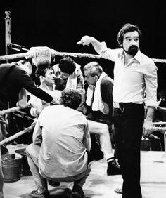Martin Scorsese and Robert De Niro on the set of Raging Bull