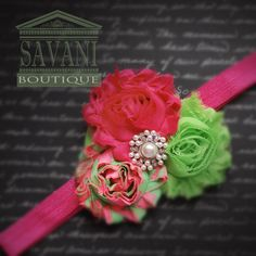 Hot Pink Headband with Lime and Pink Flowers and Pearl Accent
