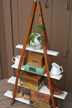 Shelf unit made from salvaged wood and old crutches!