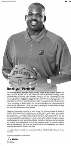 Nate McMillan thanks Trail Blazers fans in full-page advertisement - Thanks Nate!