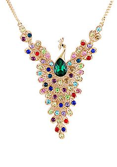 Super cool peacock necklace.