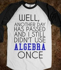 I wish I had this shirt to wear for algebra hell this summer lol. I think it's most irritating that is has nothing to do with my job. Can anyone tell me how I need algebra to be a lactation consultant? Did you hear that? Silence.