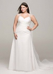 This striking chiffon A-line gown is both beautiful and timeless!  Chiffon gown features stunning beaded cap sleeve detail and chic cut out back.  Criss-cross ruching on bodice provides a flattering focal point.  Chapel train. Sizes 16W-26W.  Available in stores and online in Soft White. White available by special order in store only.  Petite: Style 7V3688. Sizes 0P- 14P.  Special order only. Missy: Style V3688. Sizes 0-14.   Fully lined. Back zip. Imported polyester. Dry clean. To preserve ...