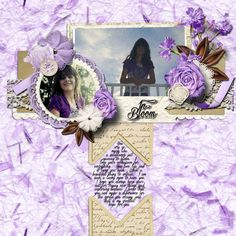 Pictures of my daughter.      Kit used: Lila's Purple Fragrance Freebie.      Template: Le Pingouin Designs' Quadruple Pack 1 available at http://scraptakeout.com/shoppe/Quadruple-Pack-1.html