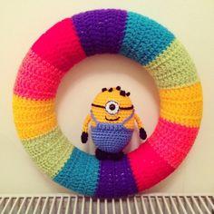 Rainbow and Minion #Crochet Wreath by CuteAsHook