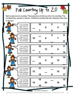Fall Counting up to 20 - a math puzzle sheet from FALL / AUTUMN MATH GAMES PUZZLES AND BRAIN TEASERS by Games 4 Learning $