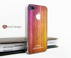 light silvery iphone 4 case iphone 4s case iphone 4 cover beautiful wood texture yellow and pink colors style unique Iphone case design. $16.99, via Etsy.